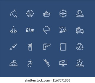 Set Of 20 black linear icons such as Militar, Computer, Rifle, Bomb, Bunker, Militar man with protection equipment, Gun, Knife, Military vehicle, Ship, editable stroke vector icon pack