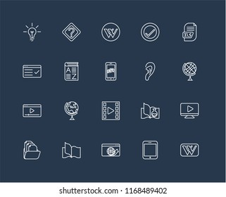 Set Of 20 black linear icons such as Wikipedia, Tablet, Browser, Book, Folder, Xls, Listening, Video player, Vocabulary, editable stroke vector icon pack