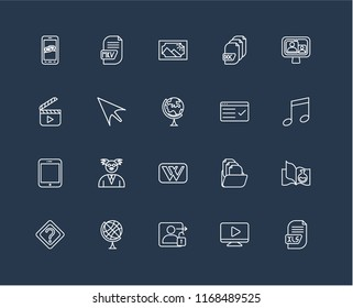 Wikipedia icon images stock photos vectors shutterstock set of 20 black linear icons such as xls video player login earth malvernweather Images