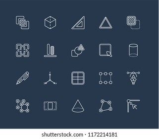 Set Of 20 black linear icons such as Edit corner, Distort, Cone, Center alignment, Ungroup, Foreground, Select, Square, Edit, Vertical Ruler, editable stroke vector icon pack