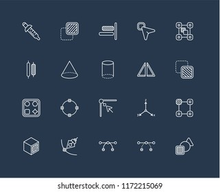 Set Of 20 black linear icons such as Square, , Edit, Cube, Group, Flip, Edit corner, Shapes, Cone, Right alignment, editable stroke vector icon pack