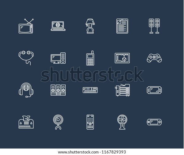 Set 20 Black Linear Icons Such Stock Vector (Royalty Free) 1167829393