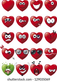 a set of 20 cartoon heart avatar icons