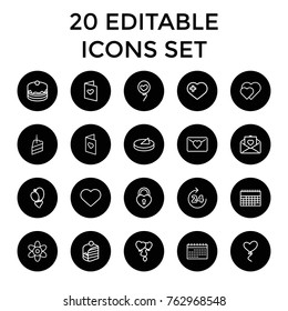 Set of 20 day outline icons such as 24 hours, flower, hearts, love letter, cake, piece of cake, calendar, heart with cross, heart baloons, love card
