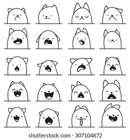 Set of 20 different doodle emotions cat. Smile for design. Anime Icons.  Anger and joy. Surprised, hurt. Indifference,  shock. Laughter,  tears.  bewilderment
