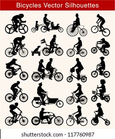 Set of 20 different silhouettes of cyclists on sport or freetime
