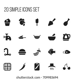 Set Of 20 Editable Cooking Icons. Includes Symbols Such As Lamb Leg, Fast Food, Berry And More. Can Be Used For Web, Mobile, UI And Infographic Design.