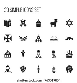 Set Of 20 Editable Dyne Icons. Includes Symbols Such As Christian, Sajdah, Church And More. Can Be Used For Web, Mobile, UI And Infographic Design.