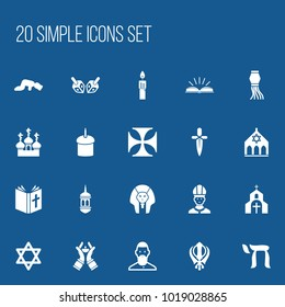 Set of 20 editable faith icons. Includes symbols such as sajdah, candlestick, minaret. Can be used for web, mobile, UI and infographic design.