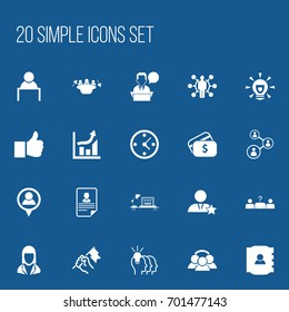 Set Of 20 Editable Job Icons. Includes Symbols Such As Candidate, Rally, Staff Structure. Can Be Used For Web, Mobile, UI And Infographic Design.