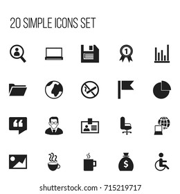 Set Of 20 Editable Office Icons. Includes Symbols Such As Handicapped, Line Chart, Circle Diagram. Can Be Used For Web, Mobile, UI And Infographic Design.