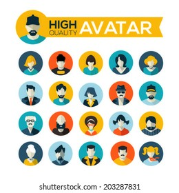 set of 20 flat design avatars icons, for use in mobile applications, website profile picture or in socil networks