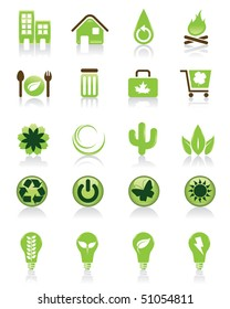 Set of 20 green icons