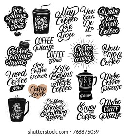 Set of 20 hand drawn lettering coffee quotes. Modern brush calligraphy, typography. Coffee related poster for home, cafe decor. Inspirational phrases for coffee lovers, tee print, card, poster. Vector