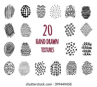 Set of 20 hand drawn textures design elements, doodles patterns of pen art and pencil, vector isolated.