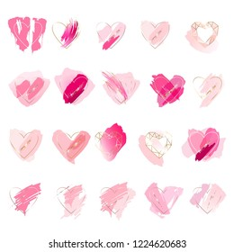 Set of 20 hearts on a white background. Outline hearts, pink, rose, gold brush strokes.