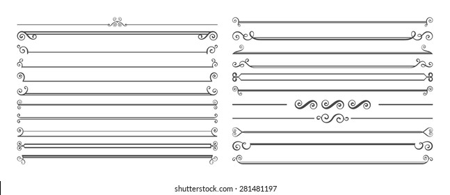 Set of 20 horizontal page dividers. Collection of retro rulers for text decoration.