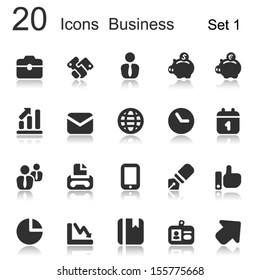 set of 20 icons for office and business