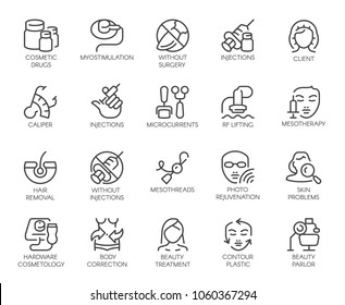 Set of 20 icons on cosmetology theme. Labels isolated. Beauty therapy, medicine, healthcare, wellness treatment linear symbols. Correction, rejuvenation, anti-aging procedure logo. Vector graphic