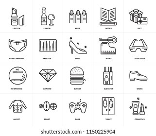 Set Of 20 icons such as Cosmetics, Toilet, Game, Sport, Jacket, Gift, Piano, Burger, No smoking, Barcode, Nails, web UI editable icon pack, pixel perfect