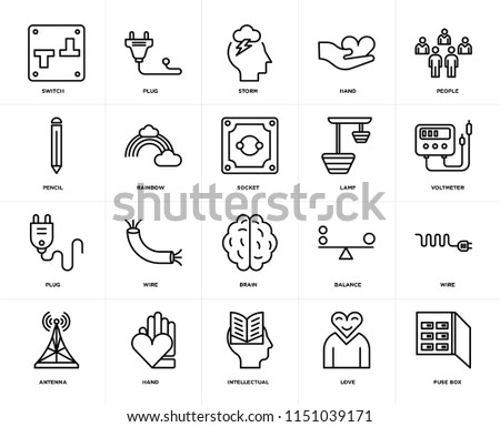 set 20 icons such fuse box stock vector royalty free 1151039171 rh shutterstock com