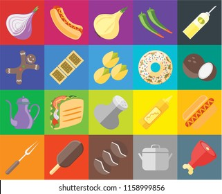 Set Of 20 icons such as Ham, Pot, Coffee, Ice cream, Fork, Oil, Hot dog, Salt, Teapot, Biscuit, Doughnut, Onion, Coconut, transparency icon pack, pixel perfect