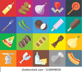 Set Of 20 icons such as Hot dog, Salt, Dairy, Glass, Scale, Jawbreaker, Onion, Biscuit, Pizza, Pepper, Ice cream, Oil, transparency icon pack, pixel perfect