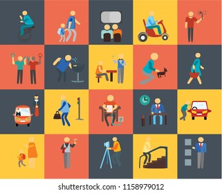 Set Of 20 icons such as Lockers, Stairs, Photography, Waiter, Goodbye, Protester, Pet, Charging, Traffic, Drinking, Cinema, icon pack, pixel perfect