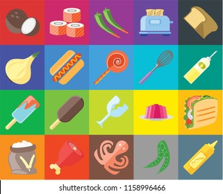 Set Of 20 icons such as Mustard, Peas, Octopus, Ham, Flour, Bread, Taco, Glass, Ice cream, Hot dog, Whisk, Coconut, Oil, Pepper, transparency icon pack, pixel perfect
