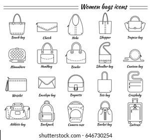 Set of 20 line icons. Different types of women bags. Beach, hobo, shopper, clutch, miniaudiere, handbag, wristlet, baguette, crossbody, bucket, suitcase, backpack etc. Vector illustration.
