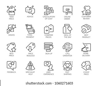 Set of 20 line icons isolated on sale theme.. Marketing, advertising, retail, commerce symbols. Graphic contour logo for offers, black friday and other design needs. Vector labels