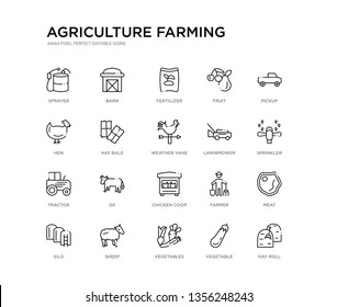 set of 20 line icons such as chicken coop, ox, tractor, lawnmower, weather vane, hay bale, hen, fruit, fertilizer, barn. agriculture farming outline thin icons collection. editable 64x64 stroke