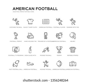 set of 20 line icons such as picking the ball, soda glass with a straw, football tv program, american football annotation, trouser of a football player, hand holding the ball, trophy, player,