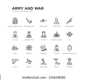 set of 20 line icons such as guerrilla, brigade, naval, federal agency, combat, conscription, civilian, terracotta, sniper rifle, shoulder strap. army and war outline thin icons collection. editable
