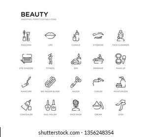 set of 20 line icons such as razor, big razor blade, manicure, massage, spa, fitness, eye shadow, eyebrow, candle, lips. beauty outline thin icons collection. editable 64x64 stroke