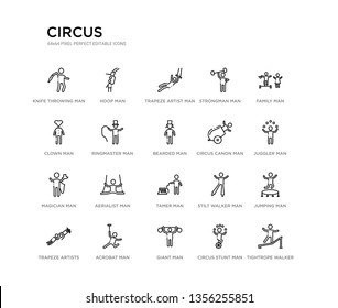 set of 20 line icons such as tamer man, aerialist man, magician man, circus canon bearded ringmaster clown strongman trapeze artist hoop circus outline thin icons collection. editable 64x64 stroke