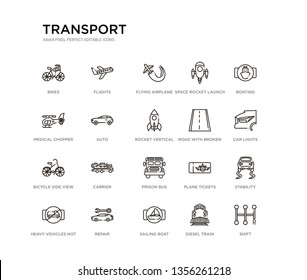 set of 20 line icons such as prison bus, carrier, bicycle side view, road with broken lines, rocket vertical position, auto, medical chopper transport, space rocket launch, flying airplane, flights.