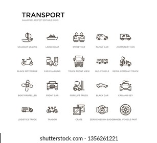 set of 20 line icons such as forklift truck, front car, boat propeller, bus vehicle, truck front view, car charging, black motorbike, family car, streetcar, large boat. transport outline thin icons