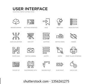 set of 20 line icons such as justify, switch camera, photo size, switch video, justified, grid off, data collection, new idea, save, settings interface. user interface outline thin icons collection.