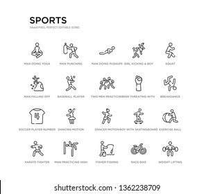 set of 20 line icons such as dancer motion, dancing motion, soccer player number four, man threating with his fist, two men practicing karate, baseball player with bat, man falling off a precipice,