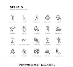 set of 20 line icons such as jumping ski, two boxing gloves, skating, excercise, ice skates, batter, home run, chest guard, shin guards, ankle. sports outline thin icons collection. editable 64x64