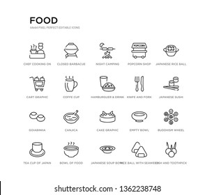 set of 20 line icons such as cake graphic, canjica, goiabinha, knife and fork, hamburguer & drink, coffe cup, cart graphic, popcorn shop, night camping, closed barbacue. food outline thin icons