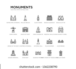 set of 20 line icons such as national mall, chartres cathedral, bridge of the west, medieval walls in avila, great mosque of samarra, quinta saint peter alexandria, christ eemer, segovia aqueduct,