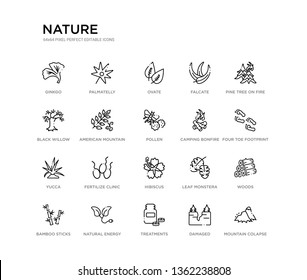 set of 20 line icons such as hibiscus, fertilize clinic, yucca, camping bonfire, pollen, american mountain ash, black willow, falcate, ovate, palmatelly. nature outline thin icons collection.