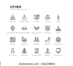 set of 20 line icons such as labaratory, chichen hen, prority, smarthome, metal paper clip, vintage eyeglasses, clock pointing four o'clock, two post it, settings, wooden stamper. other outline thin