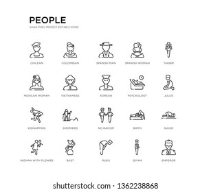 set of 20 line icons such as no racism, shepherd, kidnapping, psychology, korean, vietnamese, mexican woman, spanish woman, spanish man, colombian. people outline thin icons collection. editable
