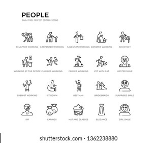 set of 20 line icons such as best man, sit down, chemist working, vet with cat, farmer working, plumber working, at the office, sweeper salesman carpenter people outline thin icons collection.