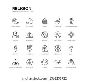 set of 20 line icons such as agnosticism, anglican, animism, asceticism, atheism, blasphemy, cao dai, christian, diwali, doi suthep. religion outline thin icons collection. editable 64x64 stroke