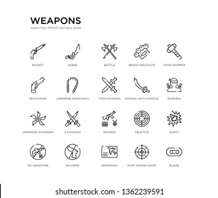set of 20 line icons such as boards, 2 katanas, japanese shuriken, katana with handle, two katanas, japanese nunchaku, revolvers, brass knuckles, battle, sabre. weapons outline thin icons