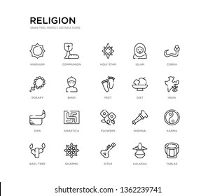 set of 20 line icons such as flowers, swastica, dipa, diet, feet, bindi, rosary, islam, holy star, communion. religion outline thin icons collection. editable 64x64 stroke